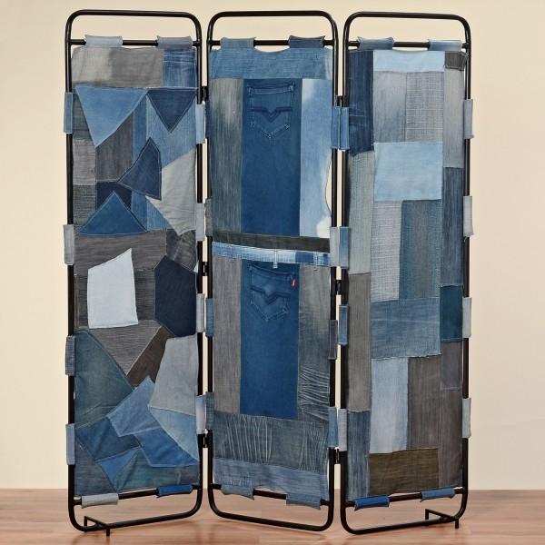Genialer Paravent Eleonis aus Jeans 170cm Raumteiler Blau