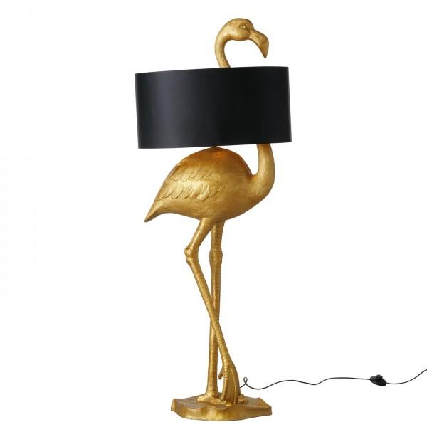 XXL Stehlampe Flamingo 142cm Gold Schwarz Vogel Schirm Lampe Stehleuchte
