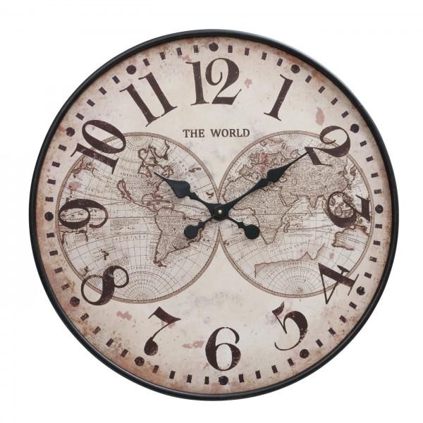 Edle Wanduhr Dallas 71cm Braun Beige Welt World Eisen Holz Uhr