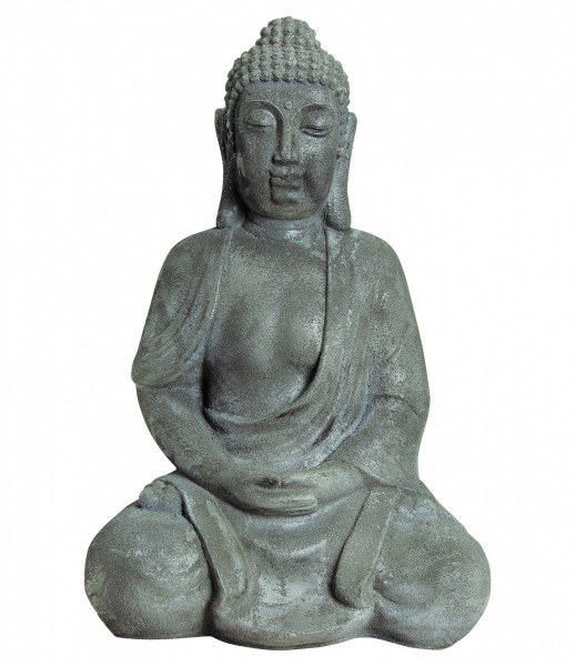 Riesiger Buddha 92cm Brau 18 KG Steinoptik Buddhafigur Hellgrau Modell