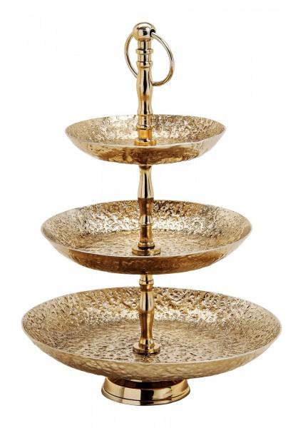 Edle Etagere 40cm Gold rau rund Gebäckschale Obstschale Metall