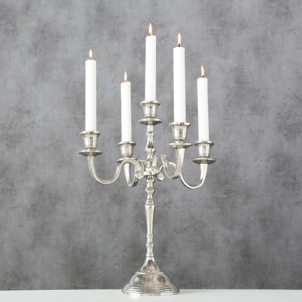 Edler Kerzenleuchter 5er Silber 40cm raw Nickel Barock Antik Kerzenständer
