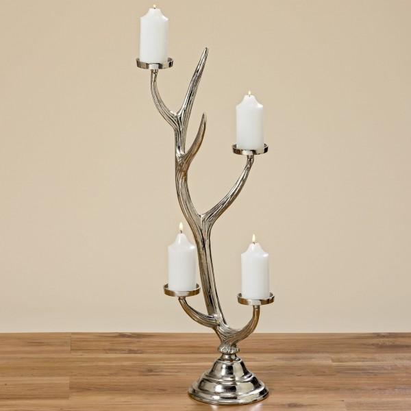 Kerzenleuchter Kerzenhalter 4-Flammig Silber Aluminium Hirsch Geweih