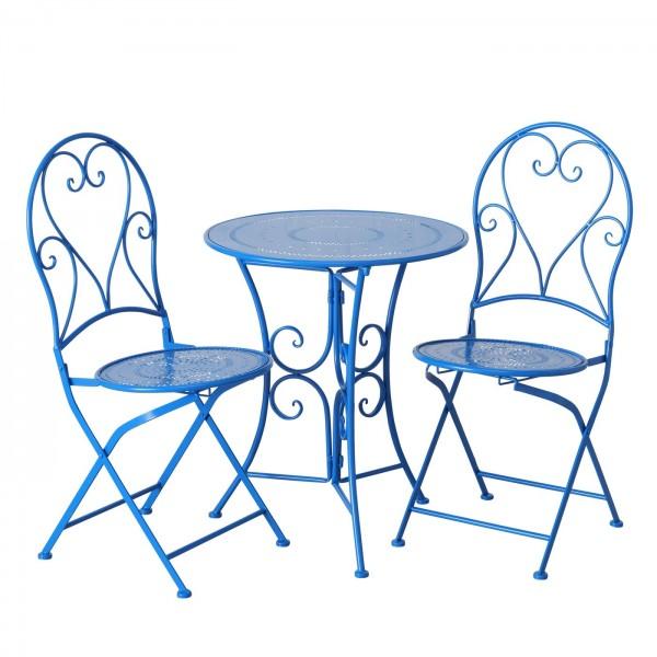 Tisch Set 2 Stühle Teresa Gartentisch Blau Gartenstuhl Garten Stuhl Eisen