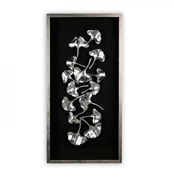 XL Wandbild Ginkgo 120x60cm Casablanca Silber Glas plastisch 3D Bild
