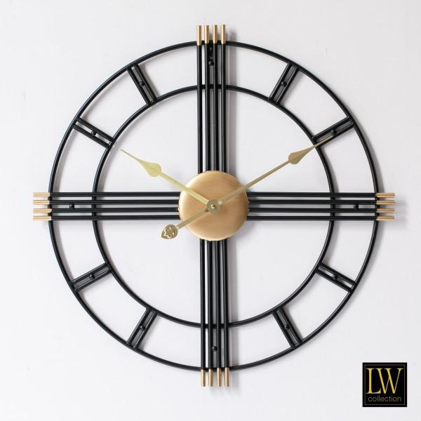 Große Wanduhr 60cm William Schwarz Gold Metall Landhaus Uhr