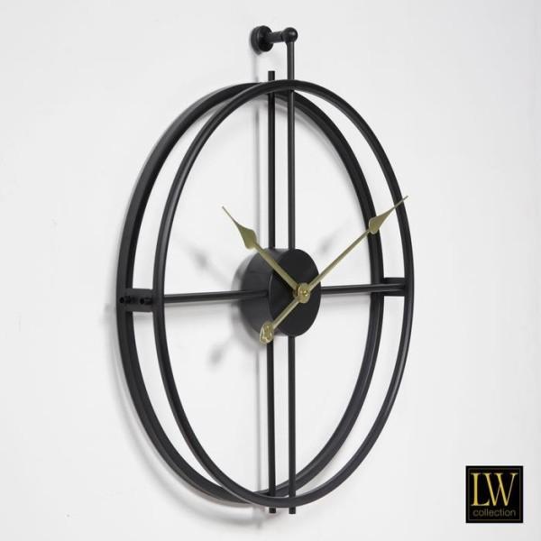 Wanduhr 52cm Alberto Schwarz Gold Metall Uhr Wand
