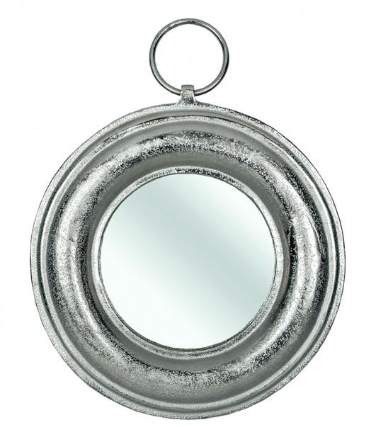 Wandspiegel Jack 30cm Silber Raw Aluminium mit Ring rund runder Spiegel