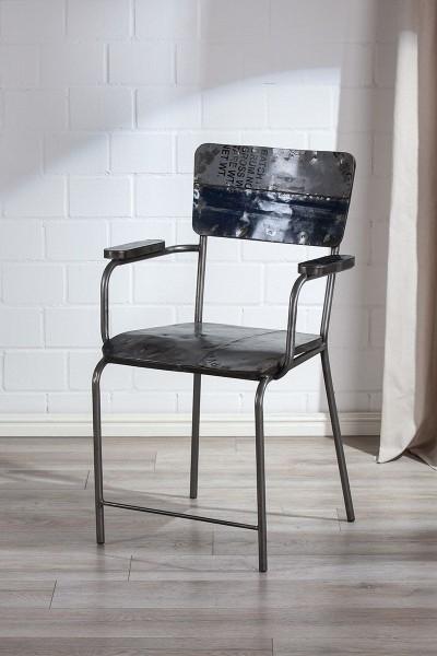Stuhl PopArt Casablanca Gilde Blau Grau Metall Wohnzimmerstuhl Sessel