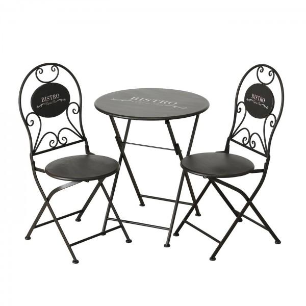 Tisch Set 2 Stühle Bistro Gartentisch Schwarz Gartenstuhl Garten Stuhl Eisen