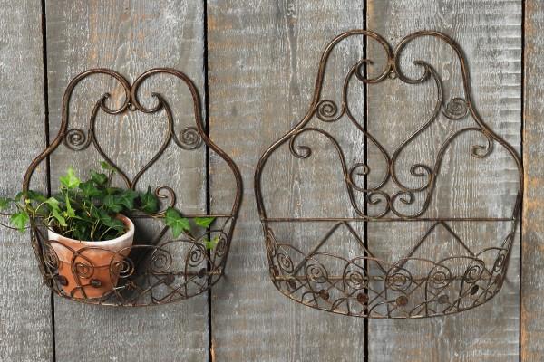 Wand Korb Set 2 teilig Braun 39+31cm Eisen Wandkorb Pflanzkorb Pflanzenkorb