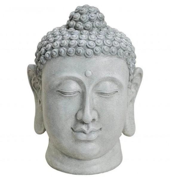 Edler Buddhakopf Grau 48x33cm Figur Modell Mönch Stein Statue Buddha Kopf