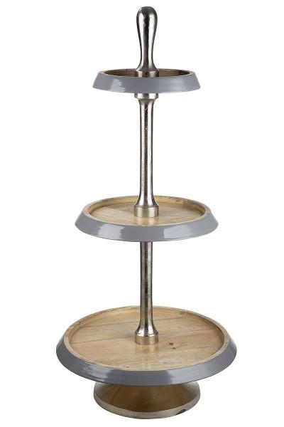 Etagere 100cm Mango Holz mit Emaillelack vernickelt Silber Casablanca Obstschale
