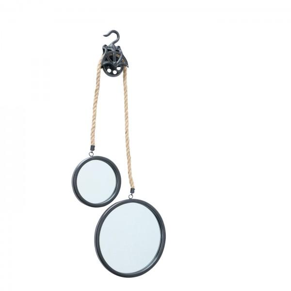 Genialer 2er Wandspiegel Juri 47cm Schwarz rund Tau Seil Spiegel