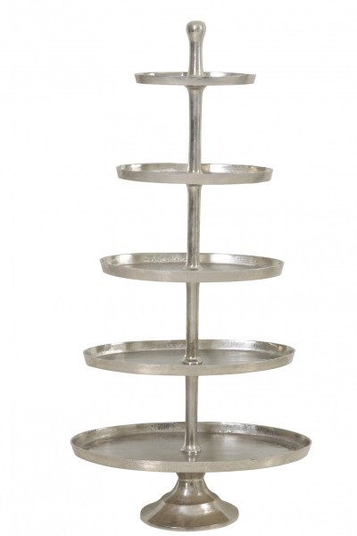 Riesige Etagere 170cm Höhe vernickelt Silber Gebäckschale
