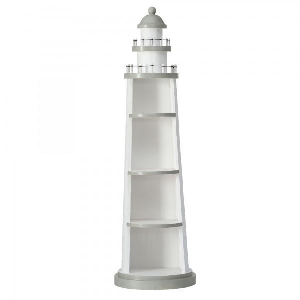 Regal Leuchtturm Modell H97cm Weiß Holz Hafen Maritim Schrank Neu