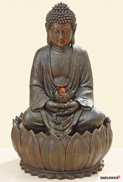 Brunnen Buddha 52cm Braun Grau Brunnenbuddha Figur Modell Pumpe Licht