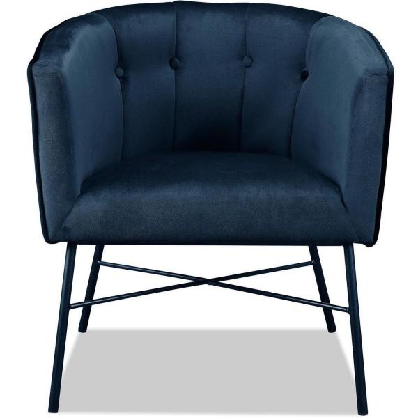 Sessel Blau Samt Clubsessel Loungesessel Samtsessel Stuhl