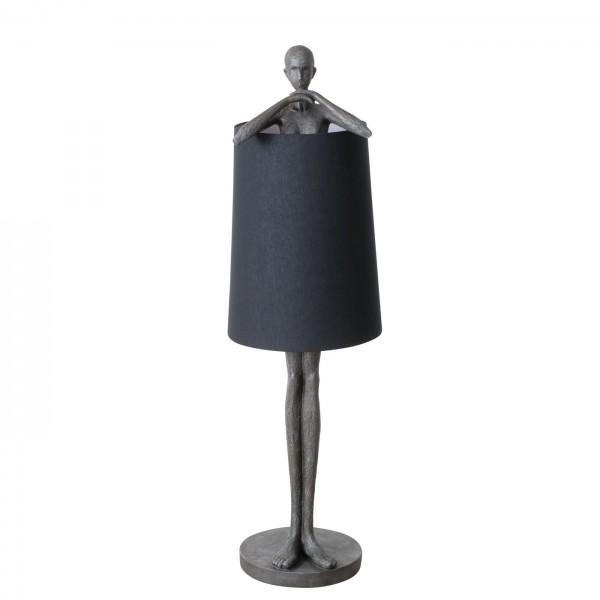XXL Stehlampe Cali 142cm Schwarz Mann Figur Skulptur Mensch Schirm Lampe Stehleuchte
