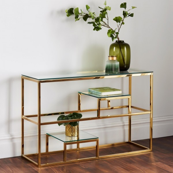 Konsolentisch Gold Glas 120cm Chrom poliert Tisch Edelstahl