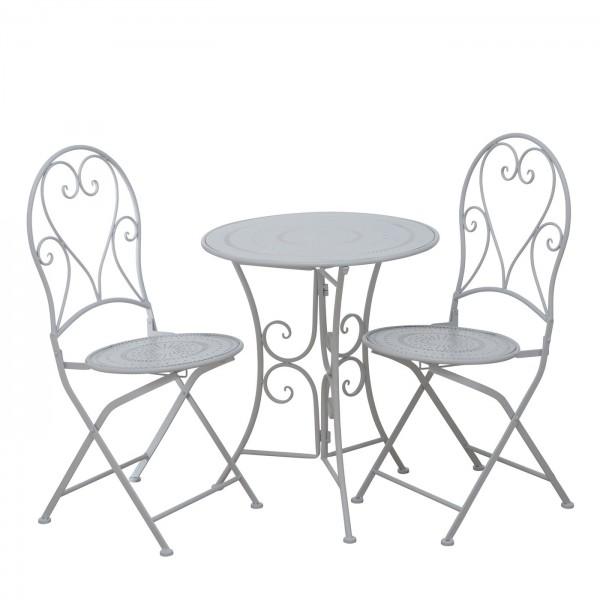 Tisch Set 2 Stühle Teresa Gartentisch Weiss Gartenstuhl Garten Stuhl Eisen