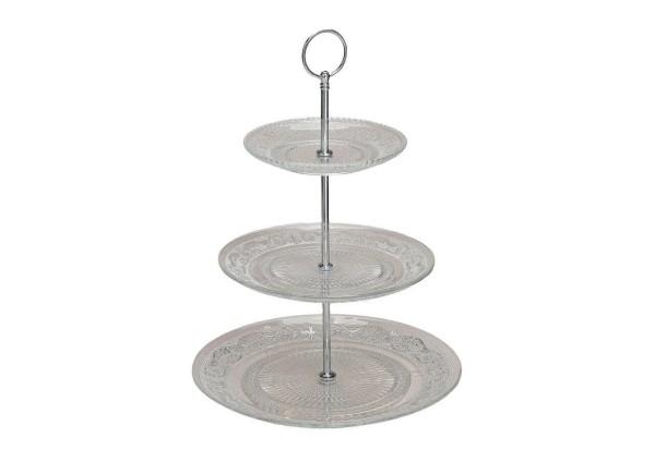 Edle Etagere Glas 30cm Silber Gebäckschale Kuchenschale