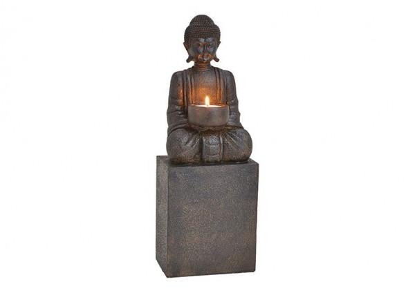 Teelichthalter Buddha 35cm Grau Figur Modell Kerze Mönch Buddhafigur Statue