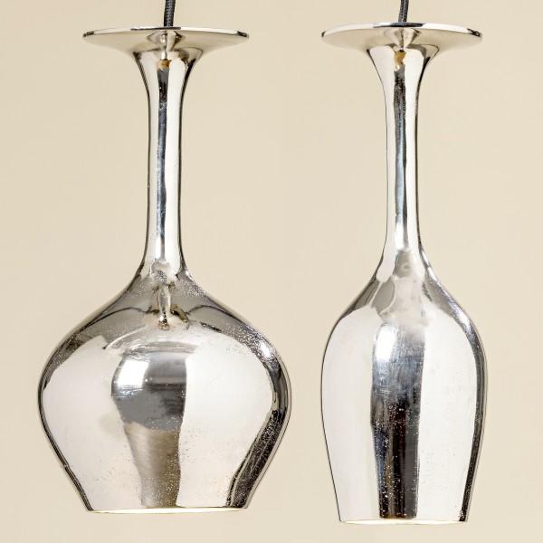 2er Set Deckenlampe Glas Aluminium Hängelampe Silber Gläser Lampe Deckenleuchte