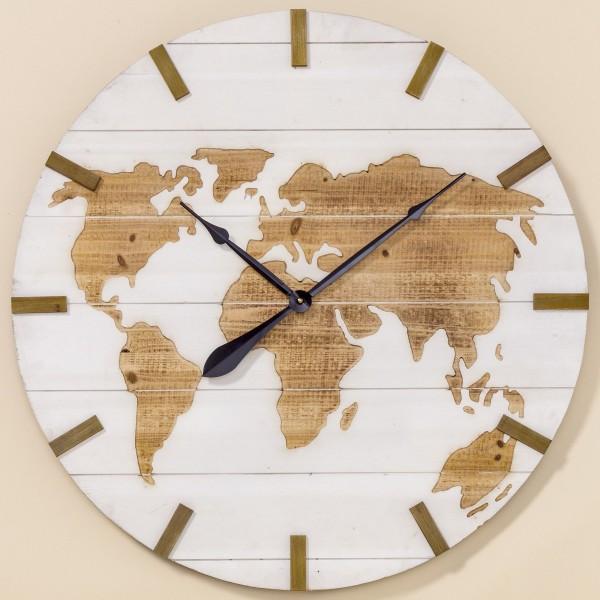 Wanduhr Uhr Global World D74cm Natur Holz Weiß Lack Neu