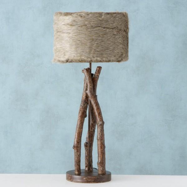 Edle Tischlampe Zermatt Ast Zeige Baum Fell Braun Landhaus Lampe Tischleuchte