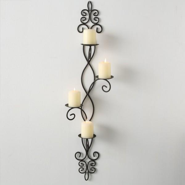 Edler Wand Kerzenleuchter 91cm Eisen Braun Wandkerzenhalter Wandleuchter Metall