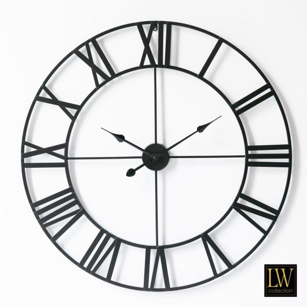 XL große Wanduhr Schwarz 80cm Olivier Metall Rom Uhr Wand Italien
