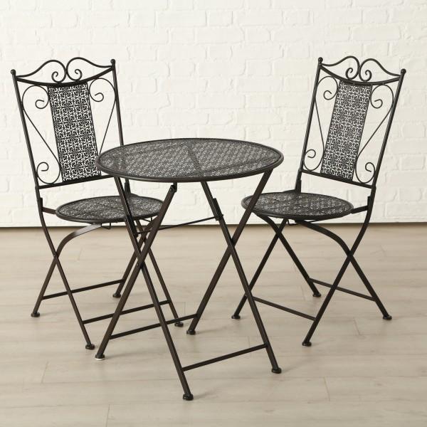 Tisch Set 2 Stühle Broder Gartentisch Braun Gartenstuhl Garten Stuhl Eisen