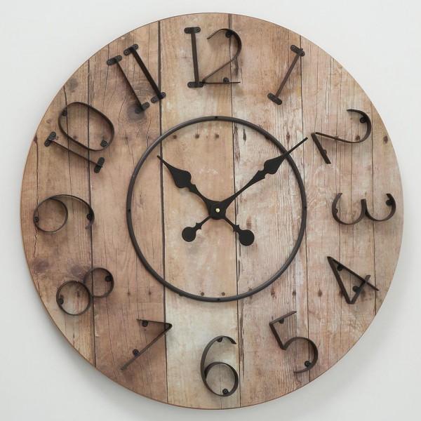Auffällige große Wanduhr Mauri D70cm Natur Holz Braun Uhr