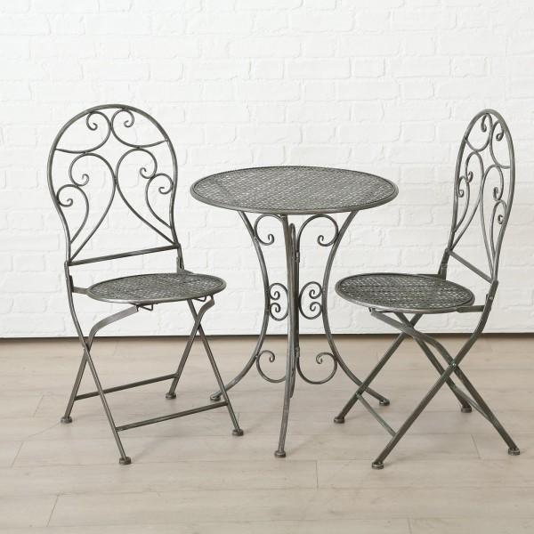 Tisch Set 2 Stühle Rilo Gartentisch Grau Gartenstuhl Garten Stuhl Eisen