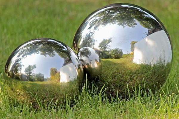 XL Gartenkugel Set poliert 27 und 35 cm aus Edelstahl Silber Kugel Dekokugel