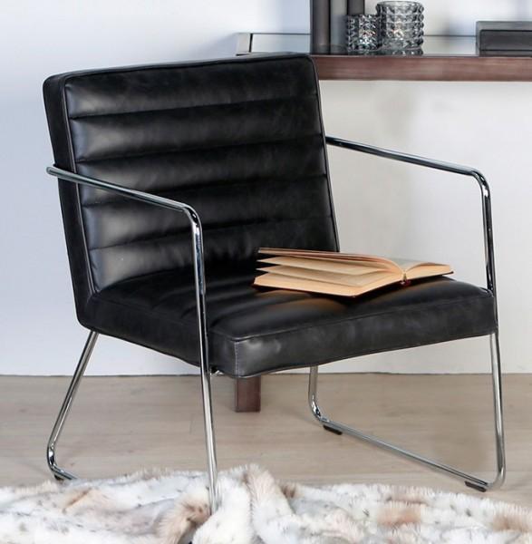 Sessel Manhattan Schwarz Kunst-Leder Clubsessel Loungesessel Ledersessel