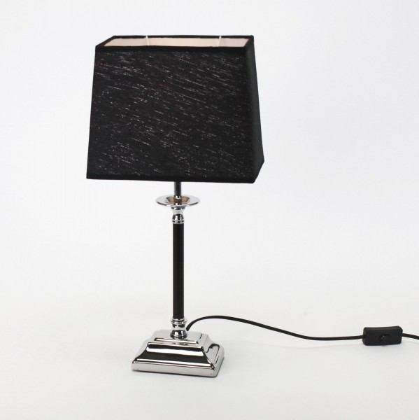 Edle Tischlampe Silber Aurora 48cm Schirm Schwarz Tischleuchte Stehleuchte Lampe