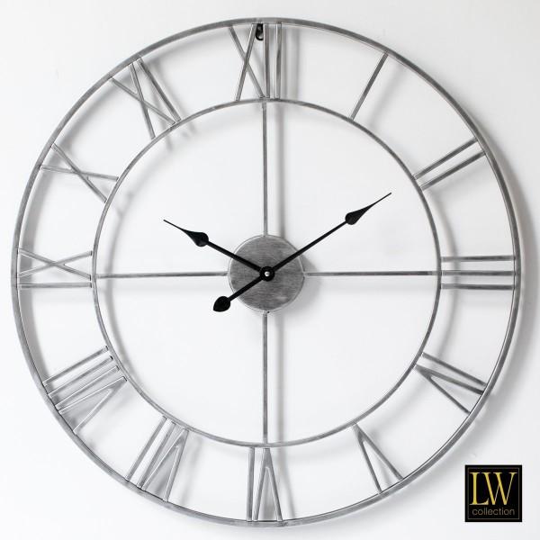 XL große Wanduhr Silber 80cm Olivier Metall Rom Uhr Wand Italien