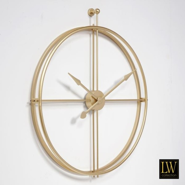 XL große Wanduhr 80cm Alberto Gold Metall Uhr Wand