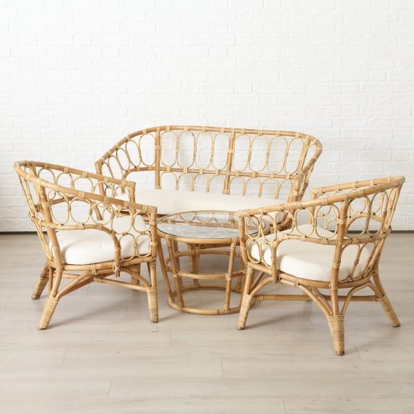 4er Möbel Set Kisa Gartentisch 2 Stühle 1 Bank Rattan Gartenstuhl Garten Tisch Stuhl