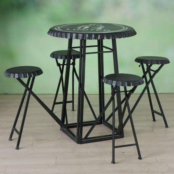 Möbel Set Local Gartentisch 4 Stühle Schwarz Gartenstuhl Garten Kronkorken Tisch Stuhl