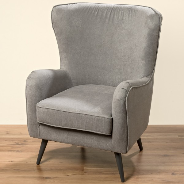 Sessel in Grau Modell Ziena 102cm Clubsessel Loungesessel Samtsessel