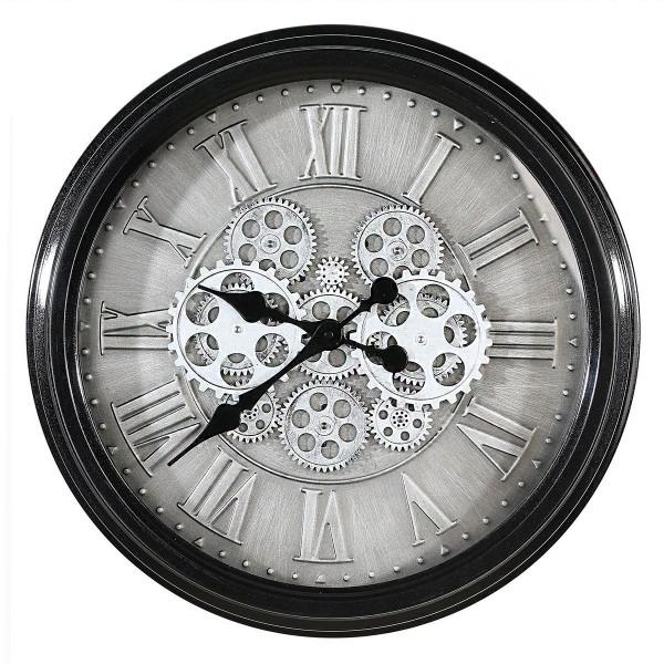 Wanduhr Glas Factona Casablanca 53cm Eisen Metall Schwarz Silber Uhr