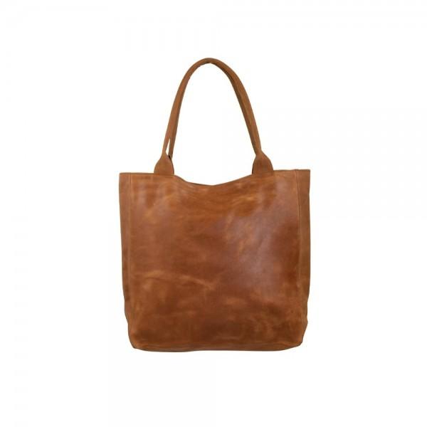 Nobler Shopper Cognac Kognak Tasche Leder Handtasche Schultertasche Ledertasche