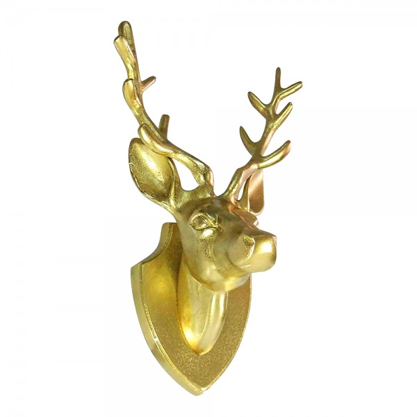 Edler Hirschkopf 33cm Gold auf Platte Hirsch Geweih Hirschgeweih Aluminium