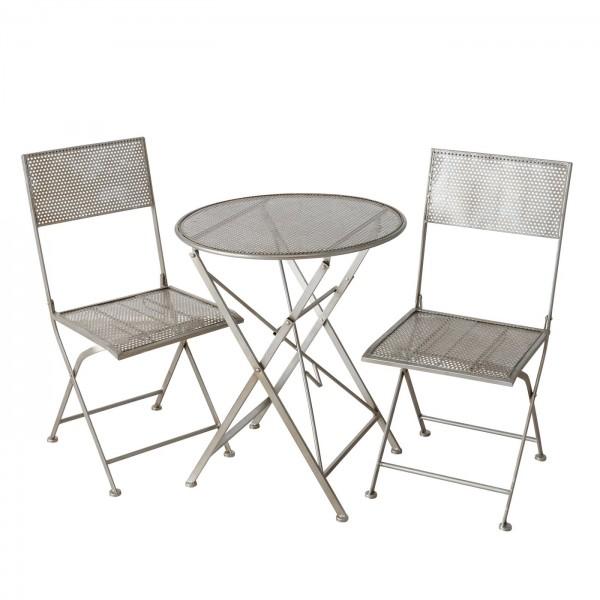 Tisch Set 2 Stühle Trena Gartentisch Weiss Gartenstuhl Garten Stuhl Eisen