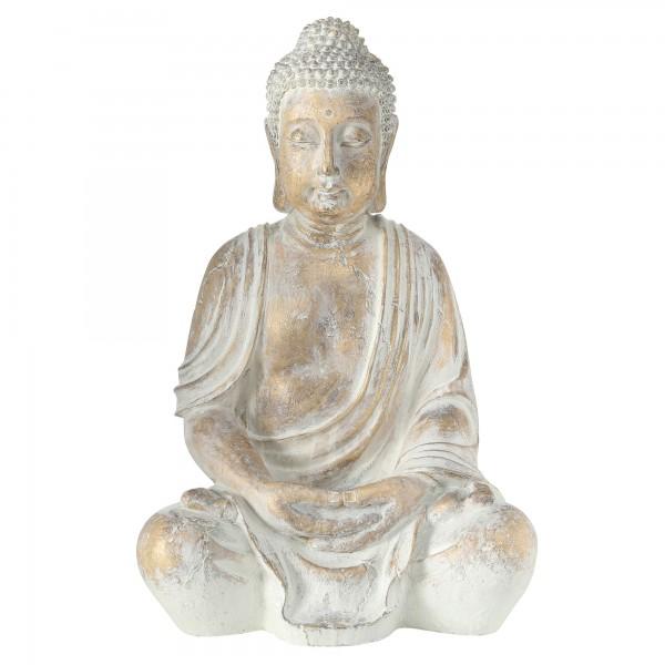Buddha Mönch Modell Figur 67cm Weiß Gold Yoga Asien