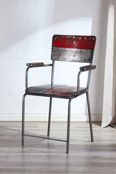 Stuhl PopArt Casablanca Gilde Rot Silber Metall Wohnzimmerstuhl Sessel