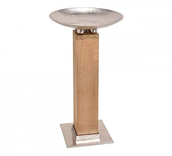 XL Schale auf Säule 75cm Holz Aluminium Silber Braun Amphore Bodenvase Alu